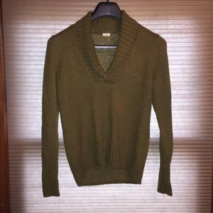 J Crew Factory Olive Green Shawl Neck Sweater
